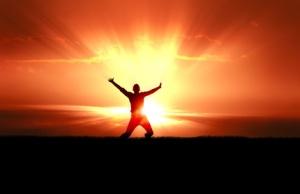 Man Jumping in Sun Rays